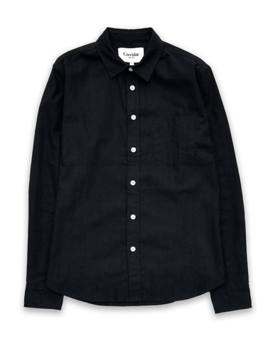 Black Linen Cotton LS