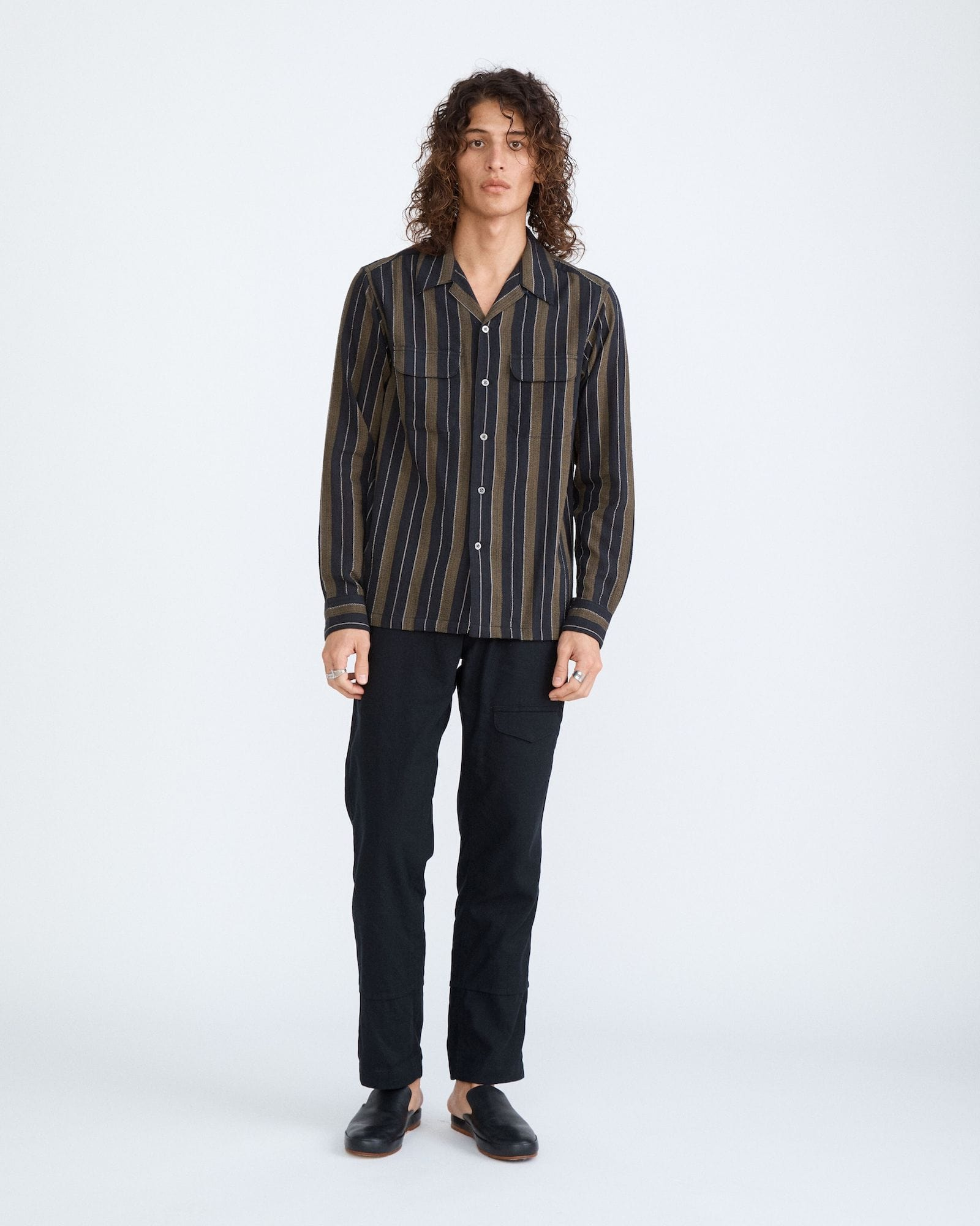 Black Olive Summer Stripe Work Shirt