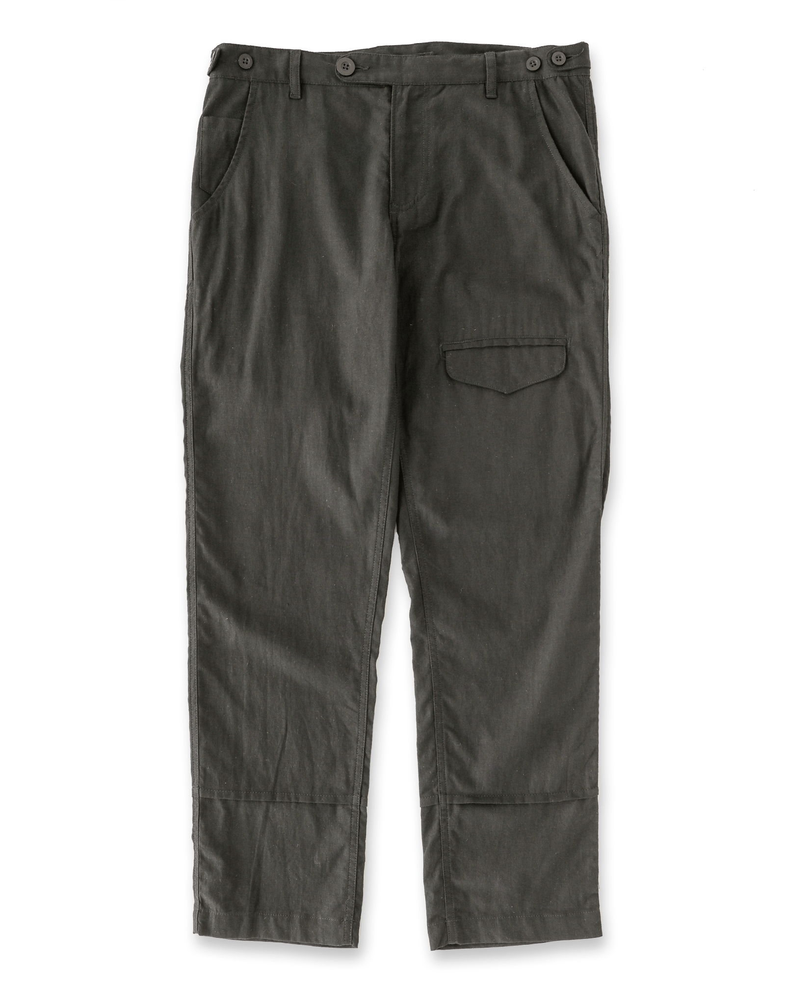 Black Linen Flap Pants