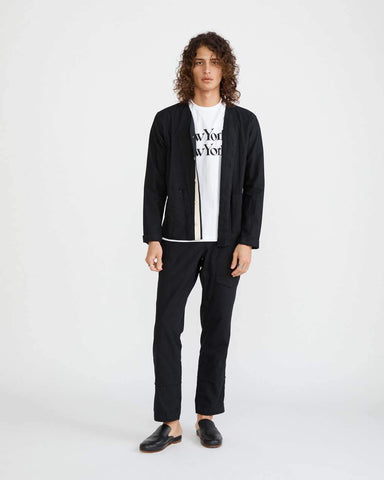 Black Linen Baseball Cardigan