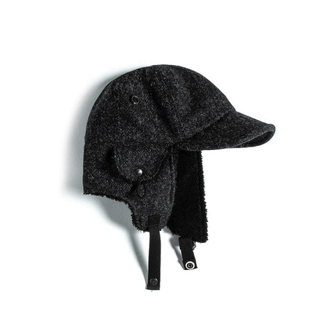 Eastlogue Bomber Hat- Black & Charcoal Herringbone