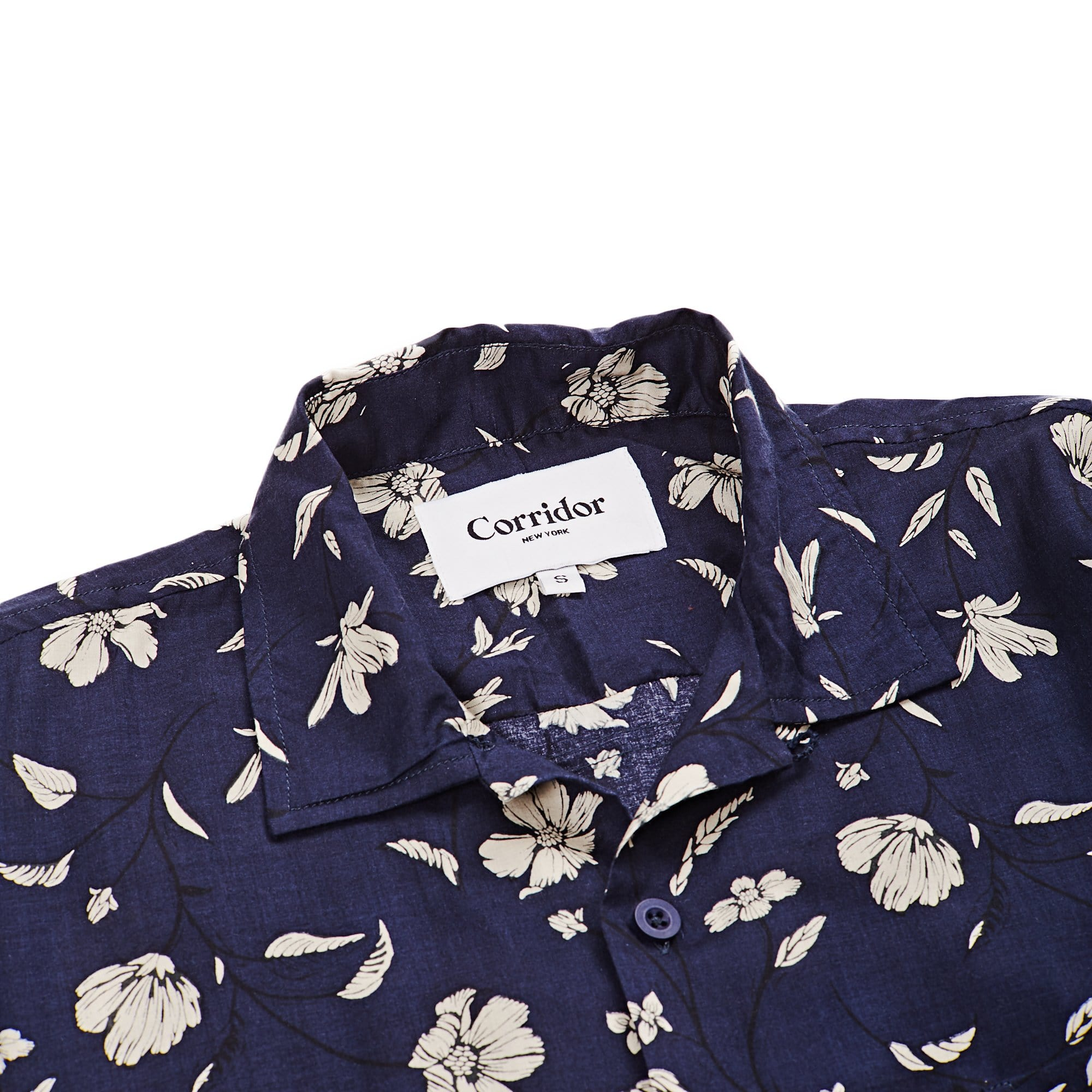 Navy Tencel Floral SS 4 Pocket
