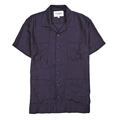 Navy Twill Modal SS 4 Pocket Summer Shirt