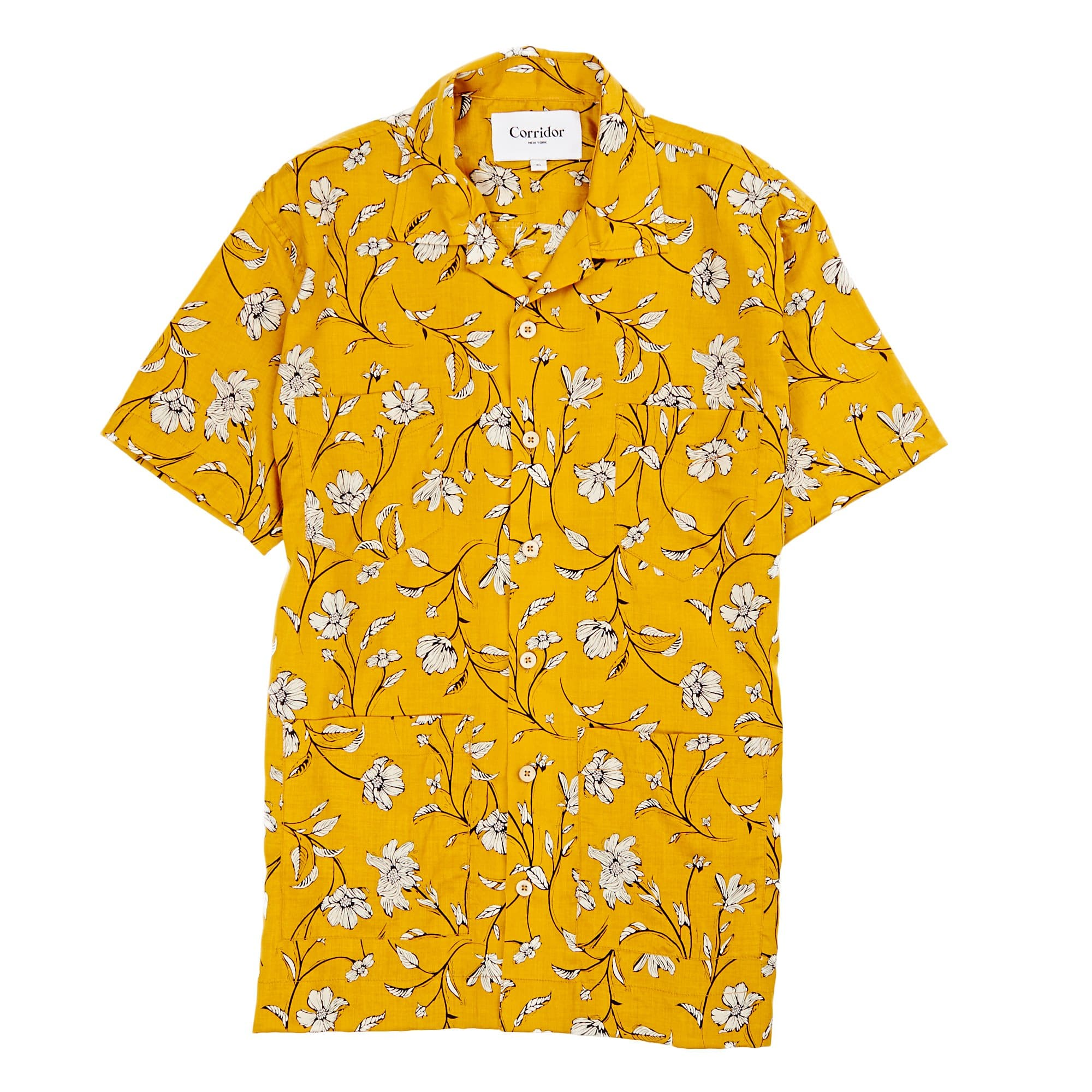 431aafd3551 Yellow Tencel Floral Summer Shirt