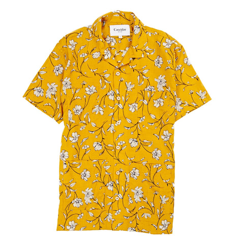 Yellow Tencel Floral Summer Shirts