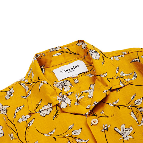 Yellow Tencel Floral Summer Shirt