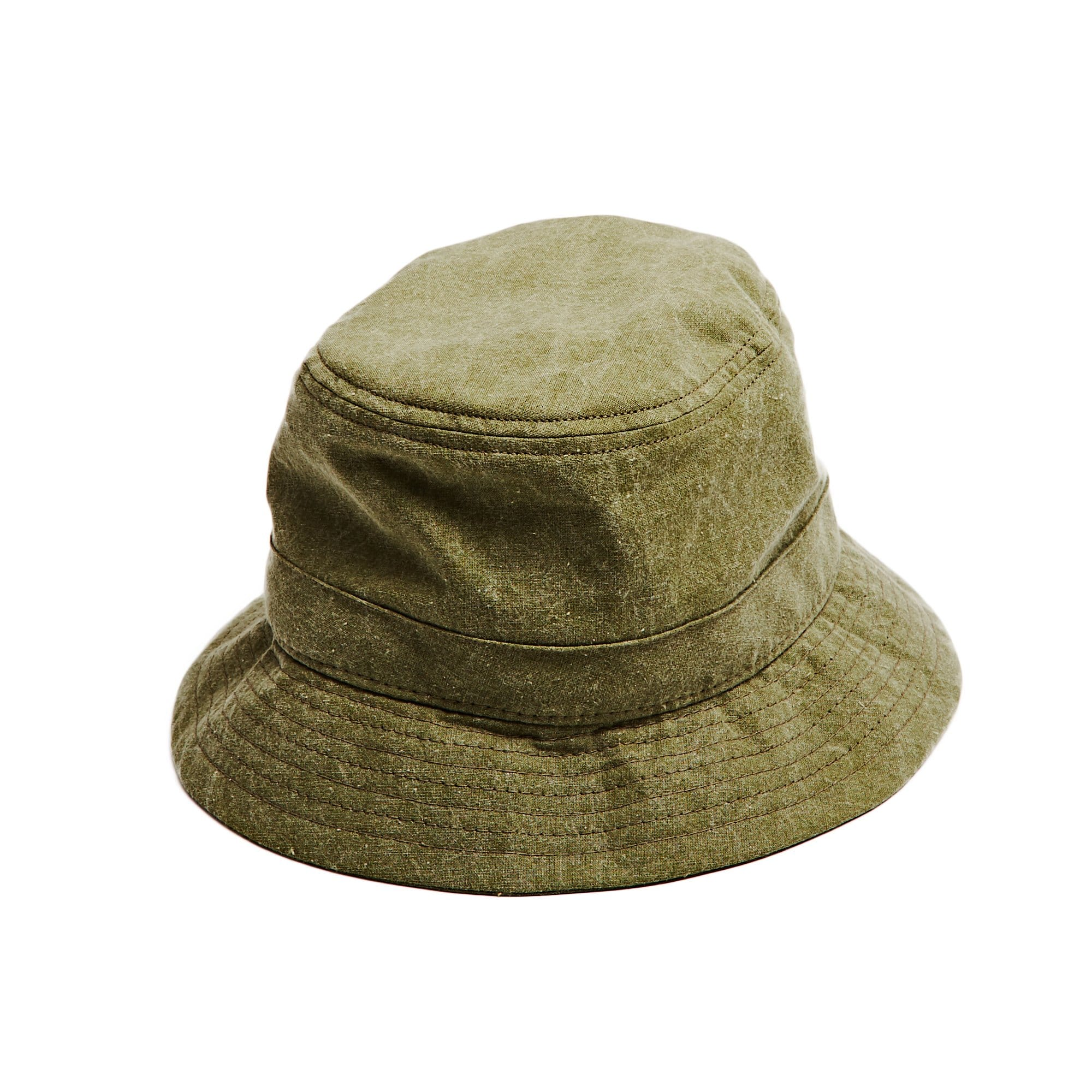 Olive Distressed Canvas Bucket Hat
