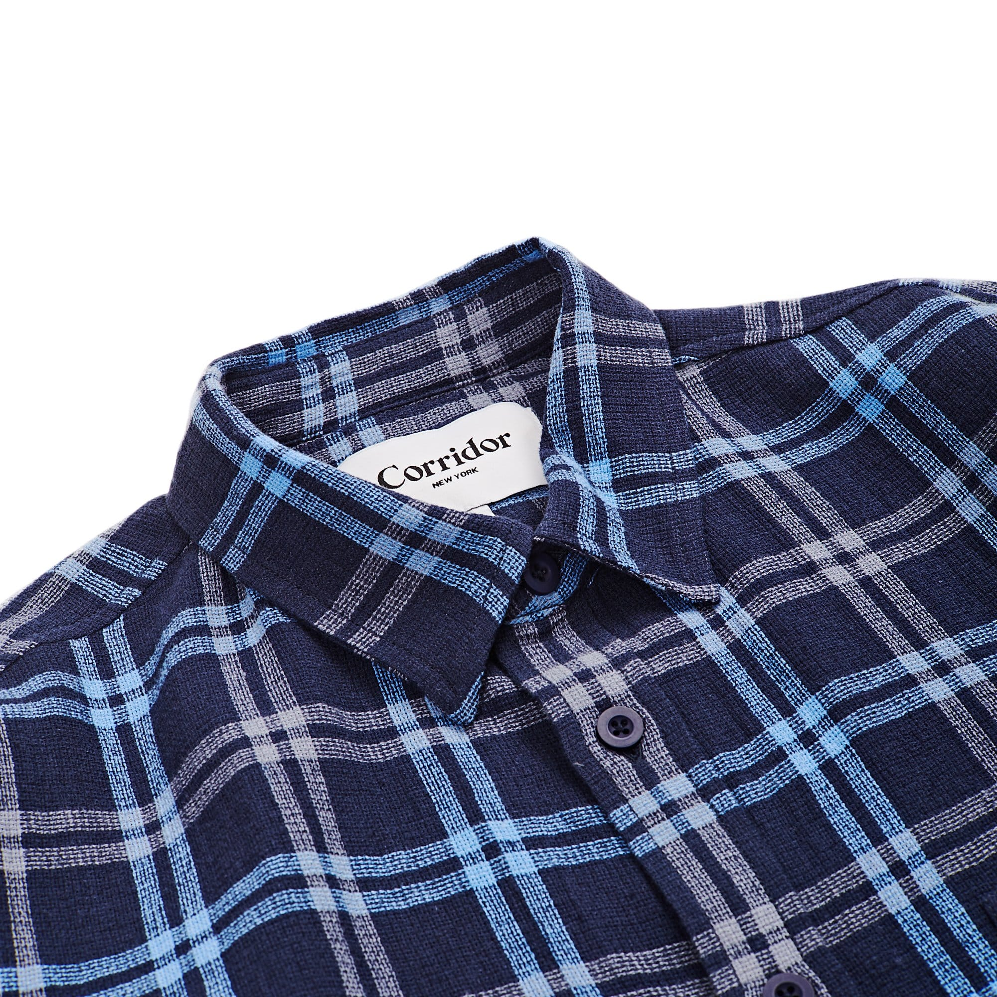 Basketweave Plaid - Navy LS