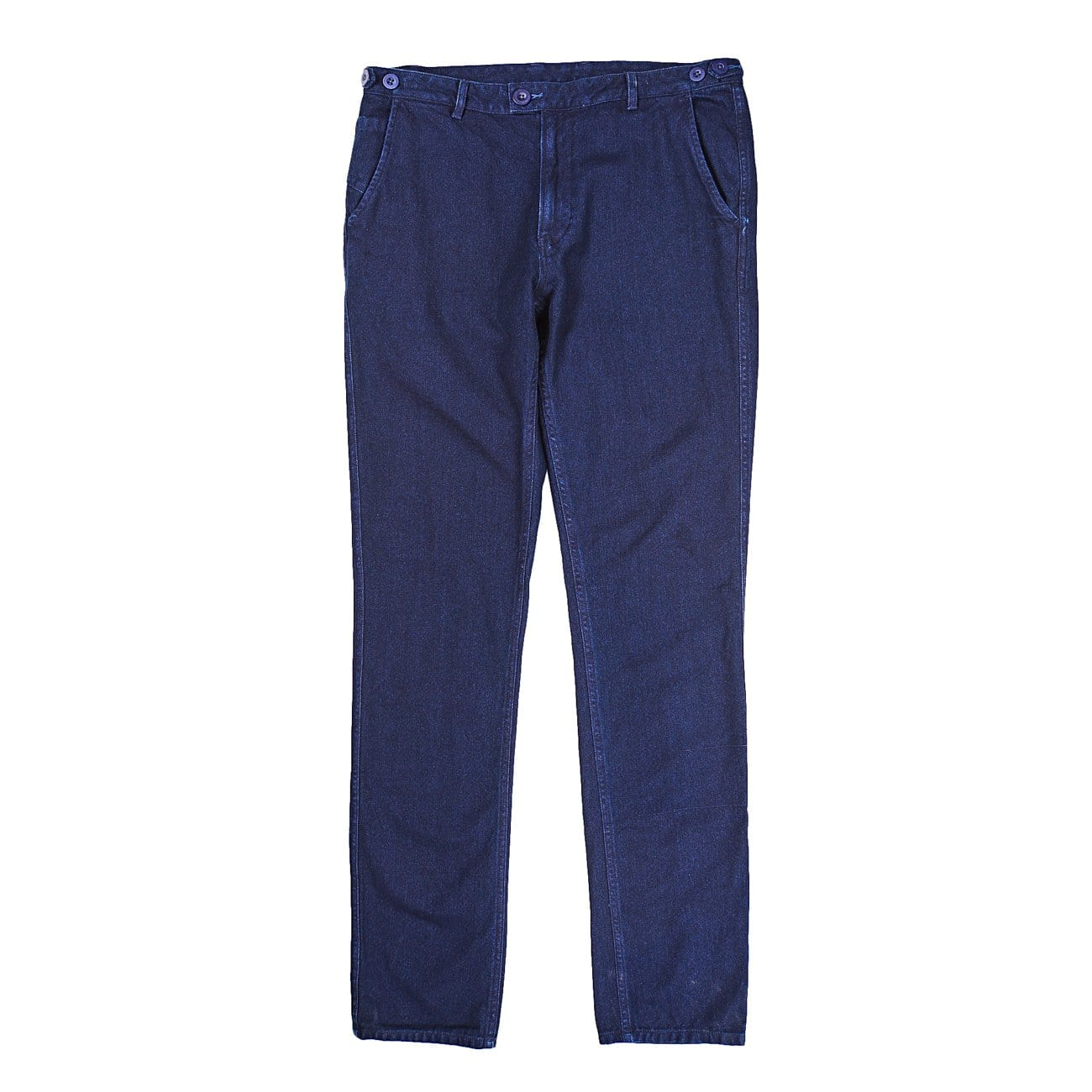 Rinsed Indigo Herringbone Slim Pants