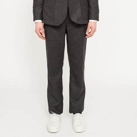 Charcoal Herringbone Lined Trousers
