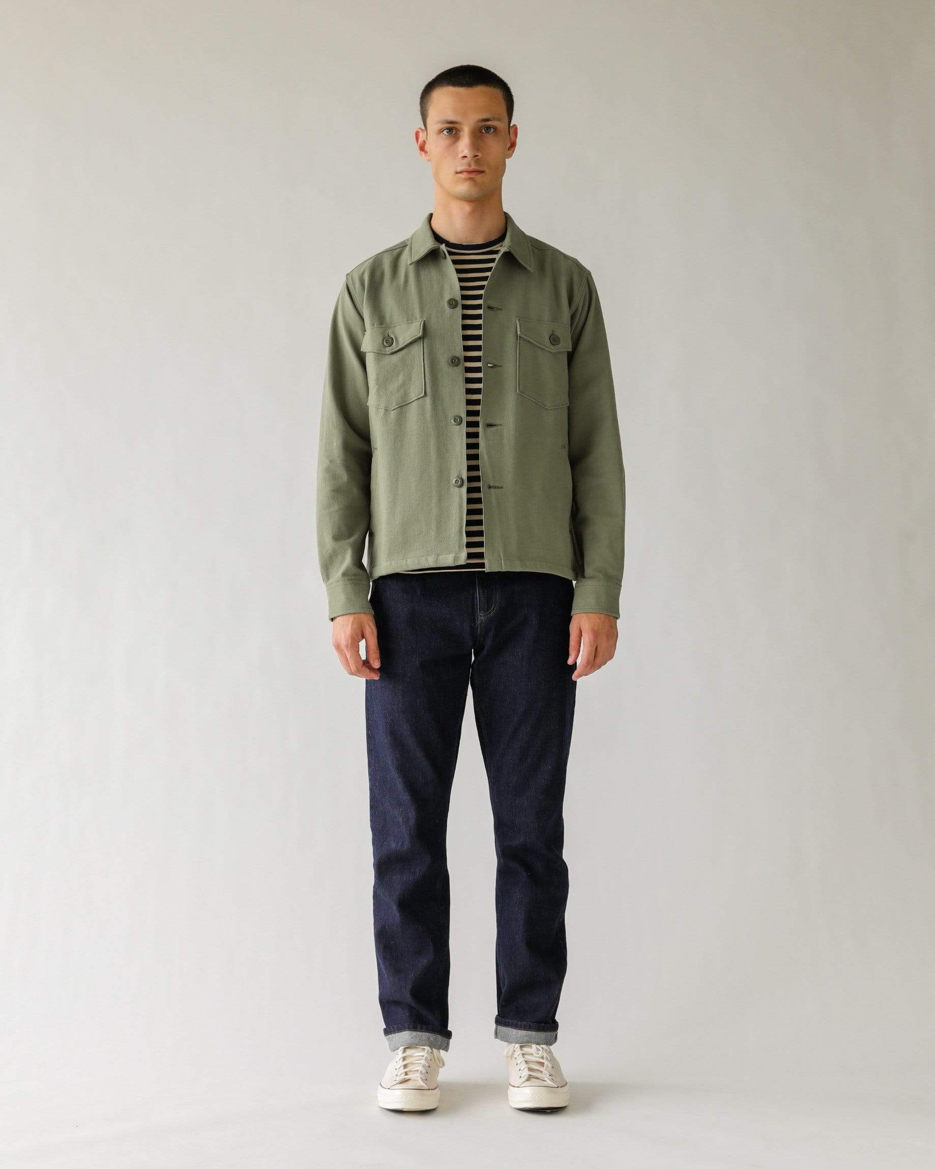 Broken Twill Military Jacket - Olive