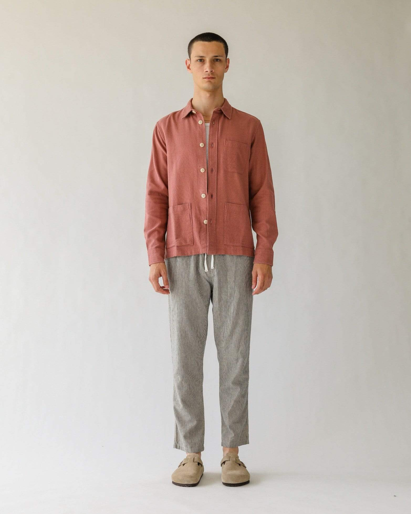 Open Weave Overshirt - Dusty Rose