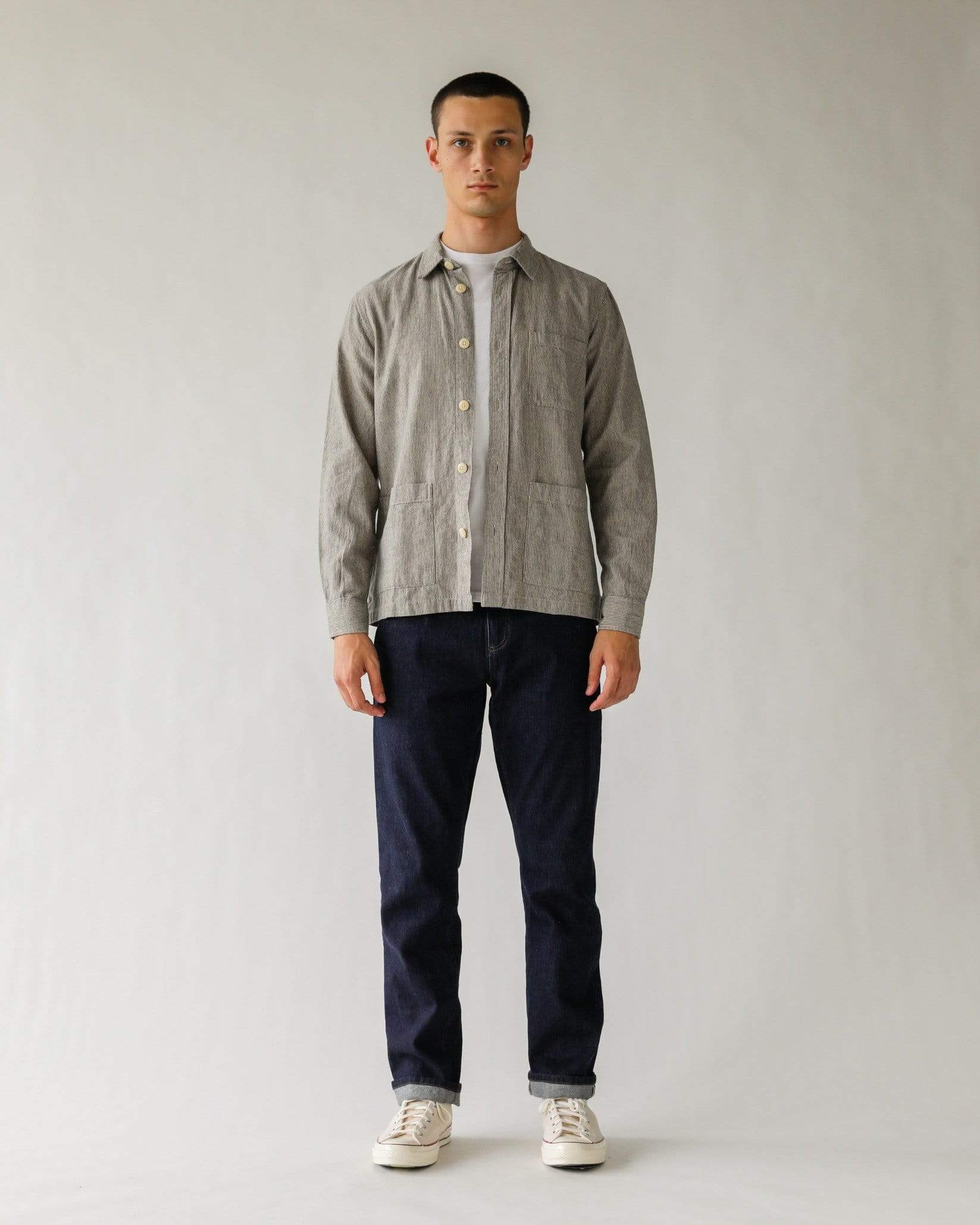 Ticking Stripe Linen Overshirt - Natural