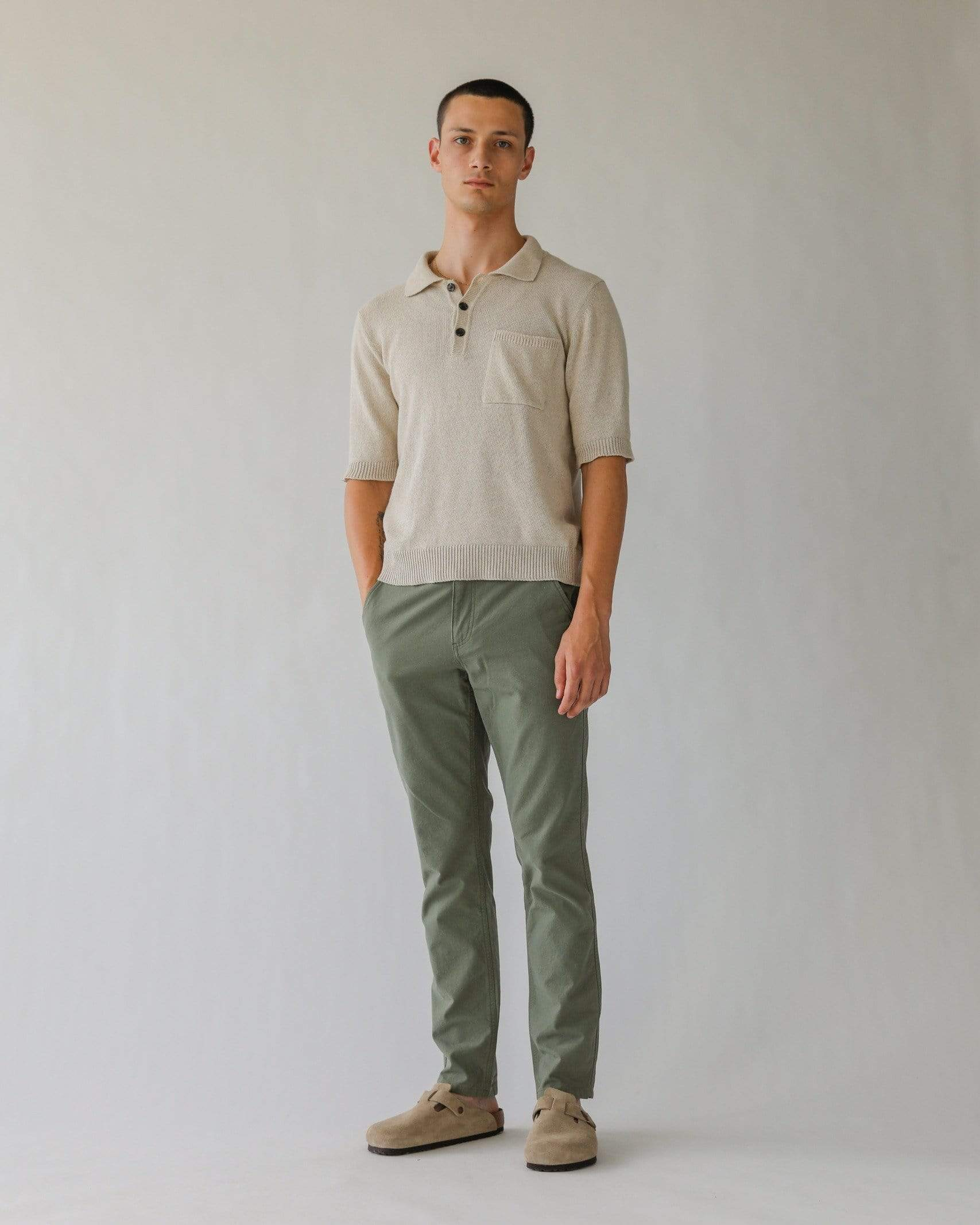 Knit Slouchy Polo - Natural