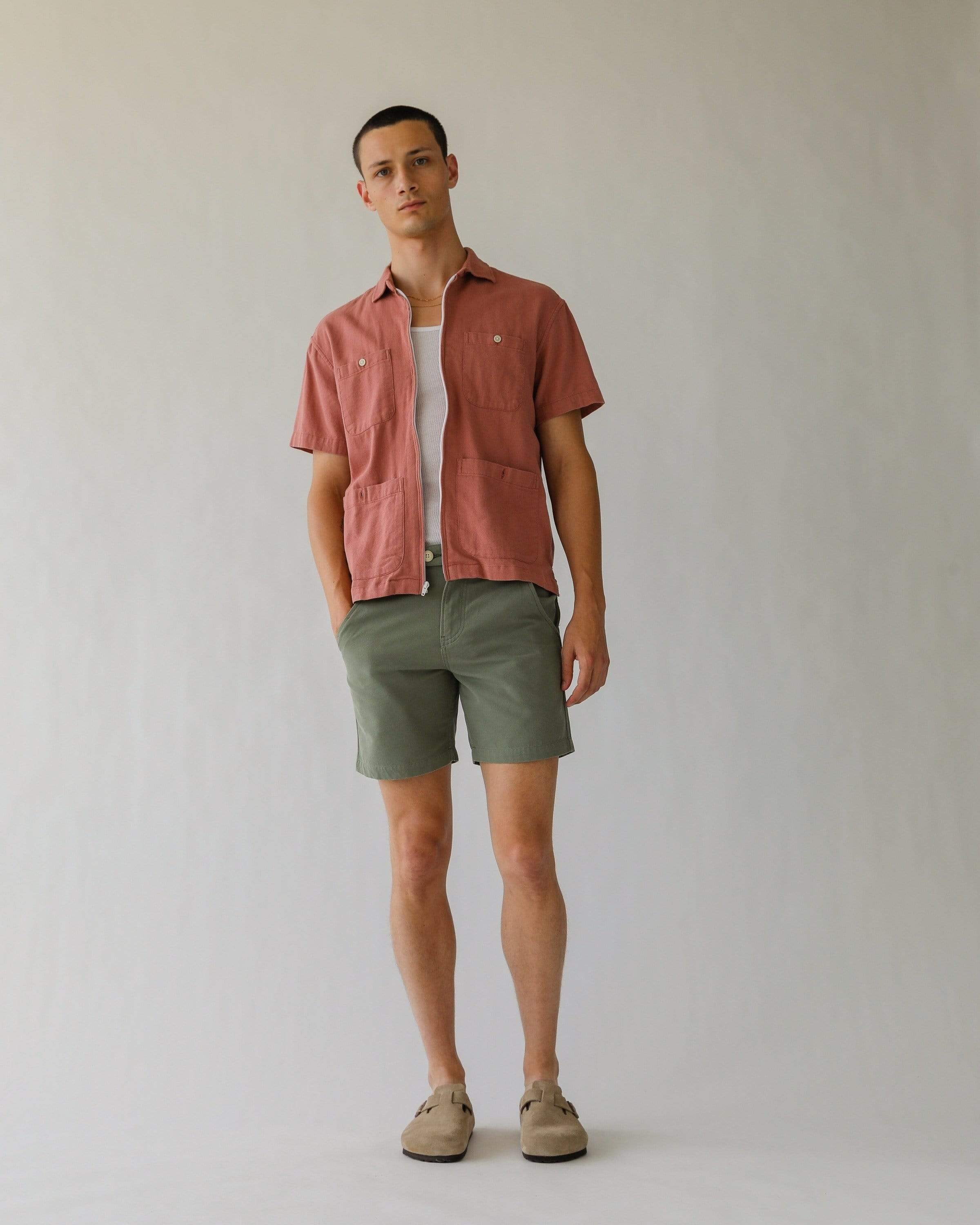 Olive Oxford Canvas Shorts