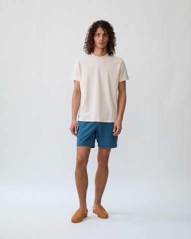 Indigo Washed Seersucker Shorts