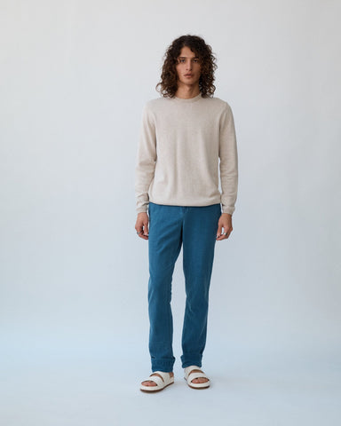 Indigo Washed Seersucker Trousers