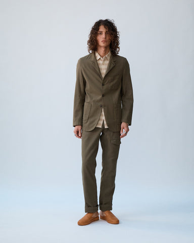 Olive Dobby 3 Button Blazer