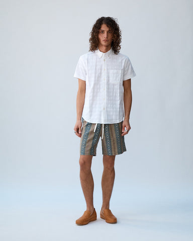 Dobby Handblock Shorts - Tan Draw String Shorts