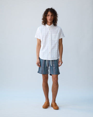 Dobby Handblock Shorts - Grey Draw String Shorts