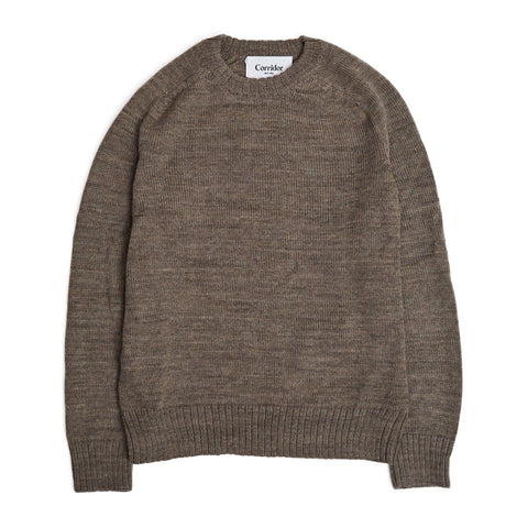 Alpaca Space Dye - Crew Neck -Brown