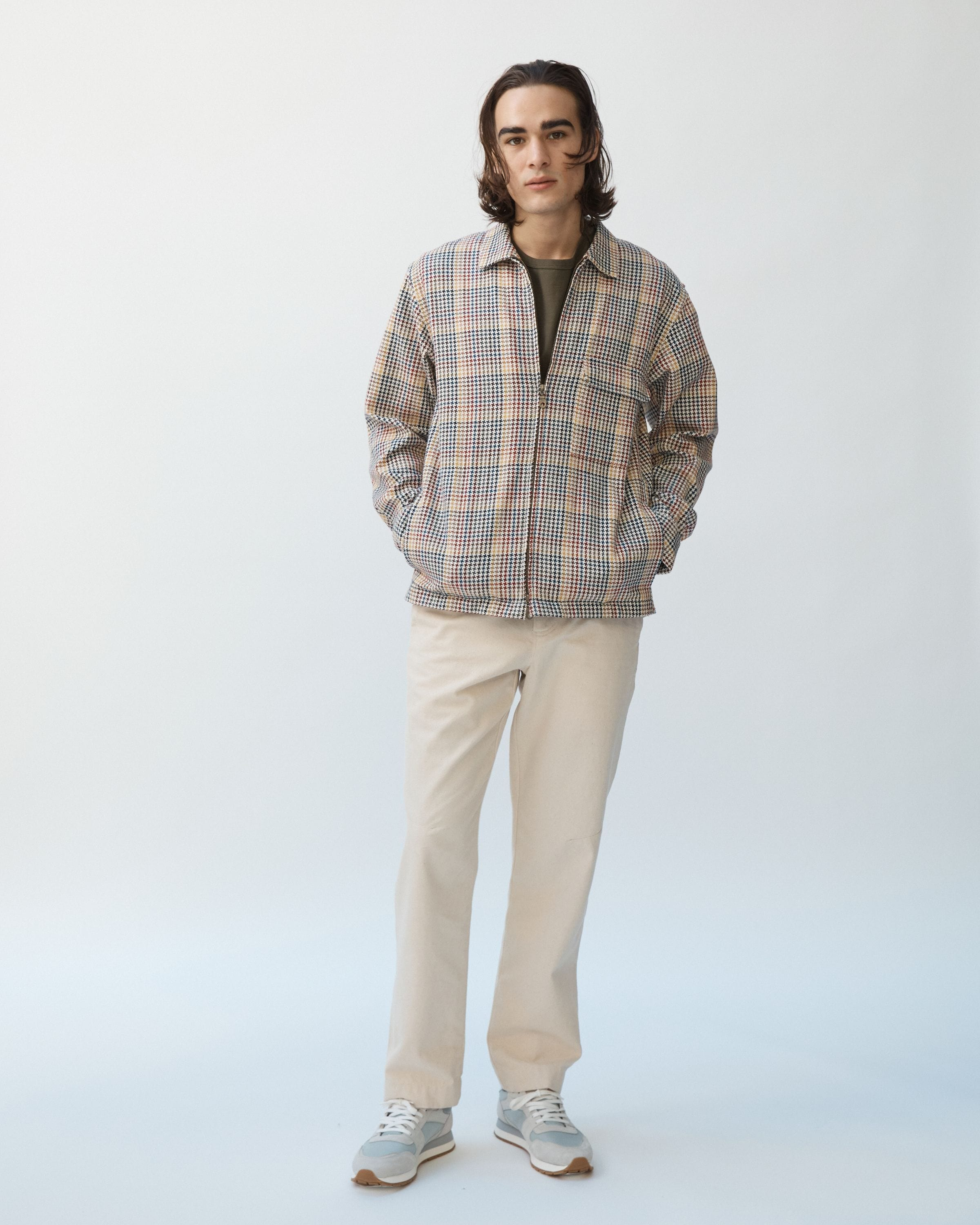 Italian Houndstooth Multi Color Zip Jacket