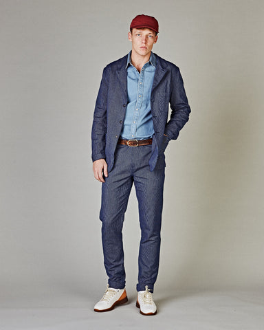 Flecked Indigo Stripe 5 Button Blazer