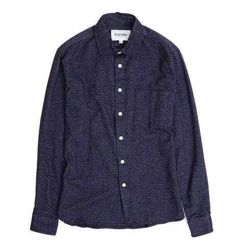 Brushed Flecked Navy Flannel LS