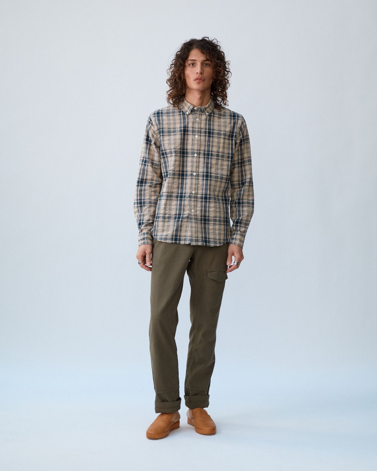 Indigo Seersucker Plaid LS
