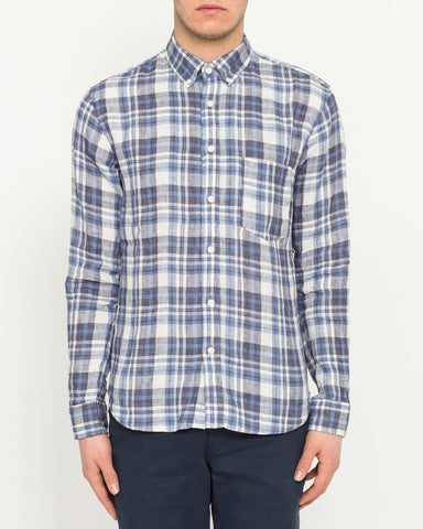 Indigo Linen Plaid