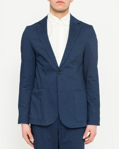 Indigo Cotton Stretch Blazer