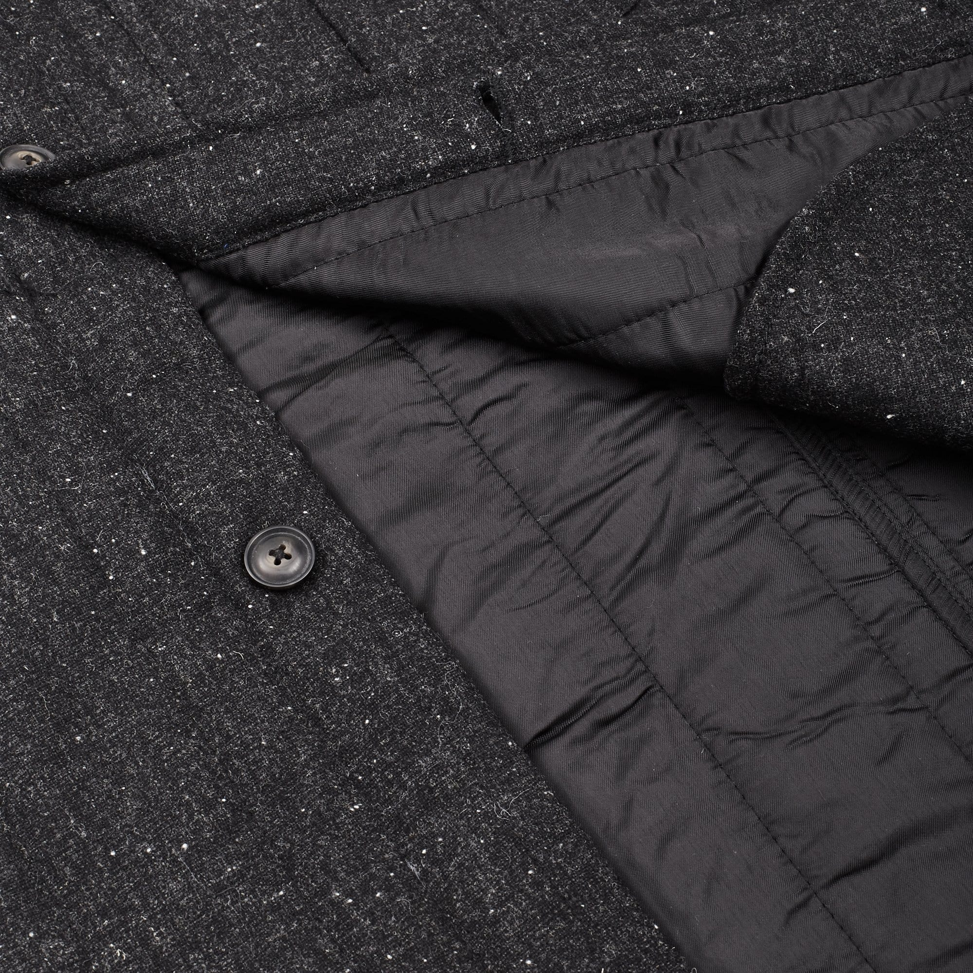 Charcoal Wool Tweed Quilted Jacket