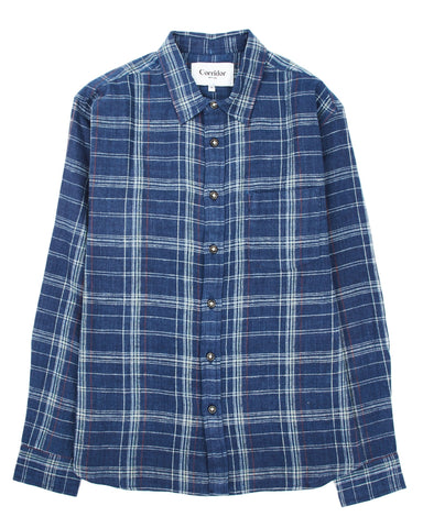 Indigo Red Plaid LS