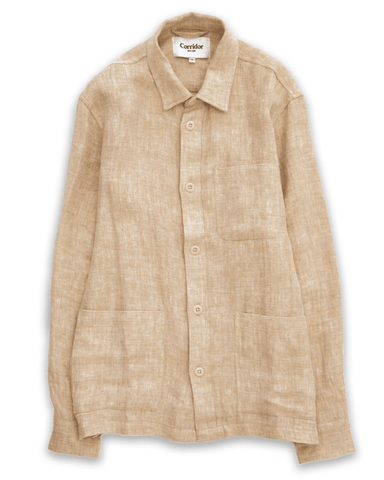 Natural Linen Herringbone Overshirt