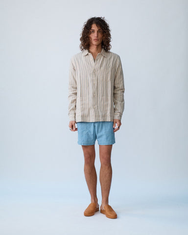 Natural Linen Stripe Overshirt
