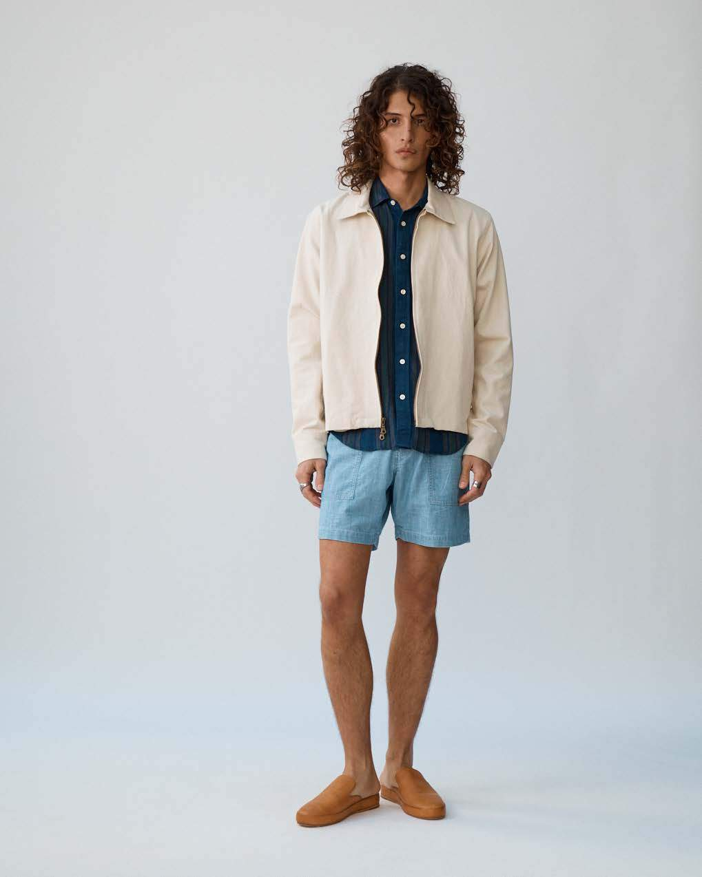 Natural Canvas Zip Front