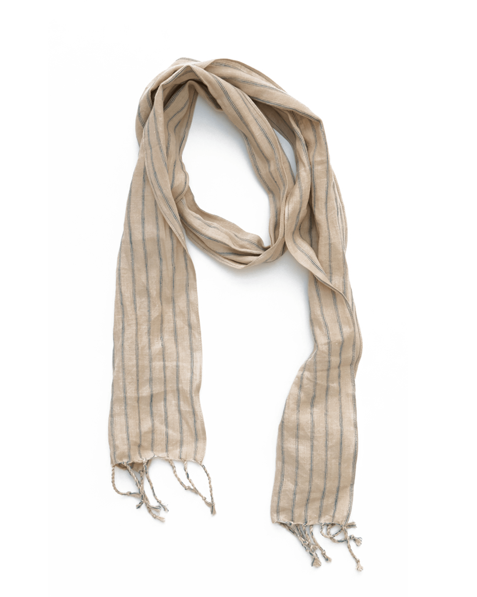 Natural Stripe Linen Scarf