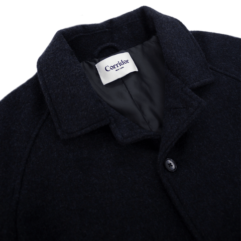 Navy Lambswool (18oz) Raglan 3/4 Length Coat