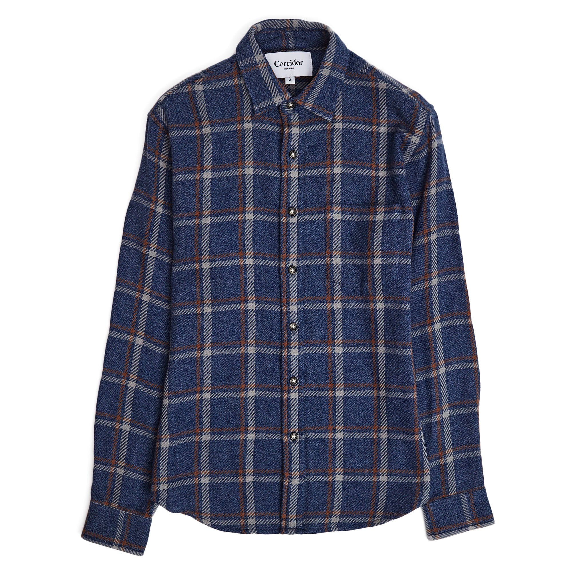Navy Brown Windowpane LS