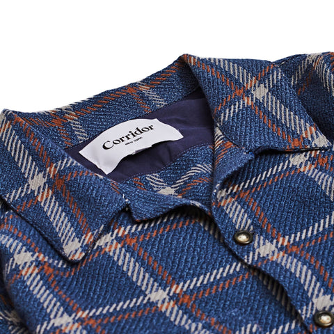 Navy Brown Window Pane Work Shirt