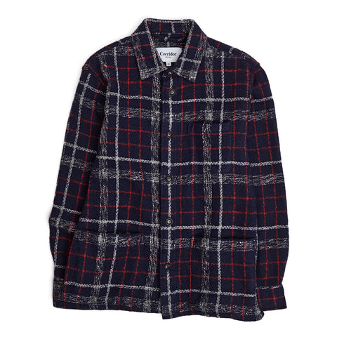 Navy Red Plaid Wool Overshirt