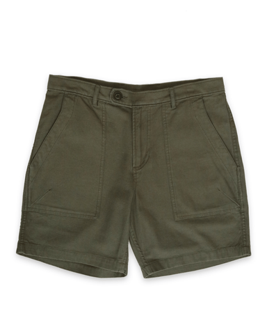 Olive Dobby Camp Pocket Shorts