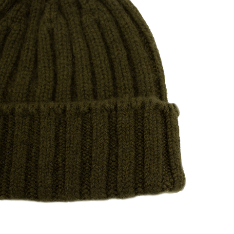 Cableami Cashmere Rib Cap - Olive
