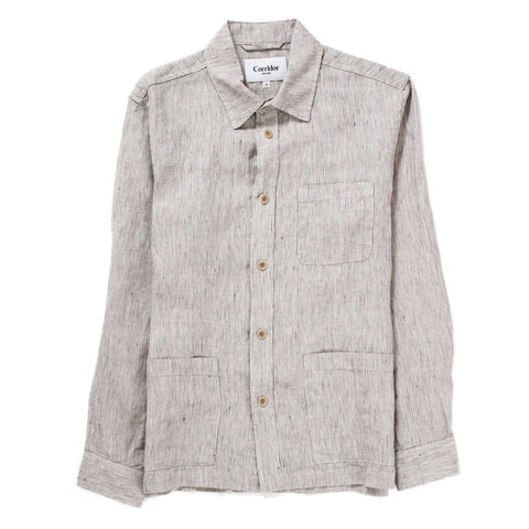 Natural Ticking Stripe Linen Overshirt