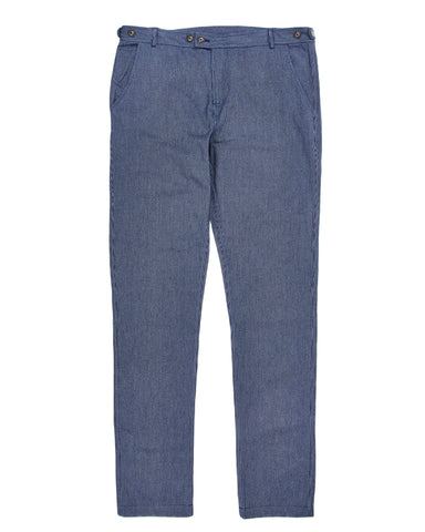 Flecked Indigo Stripe Slim Pants