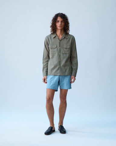 Slub Olive Stripe Work Shirt