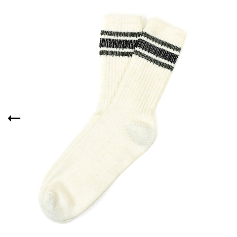 American trench - Merino Activity Socks - White/Navy Stripe