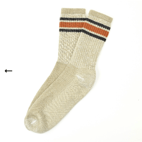 American trench - Merino Activity Socks - White/Orange Stripe