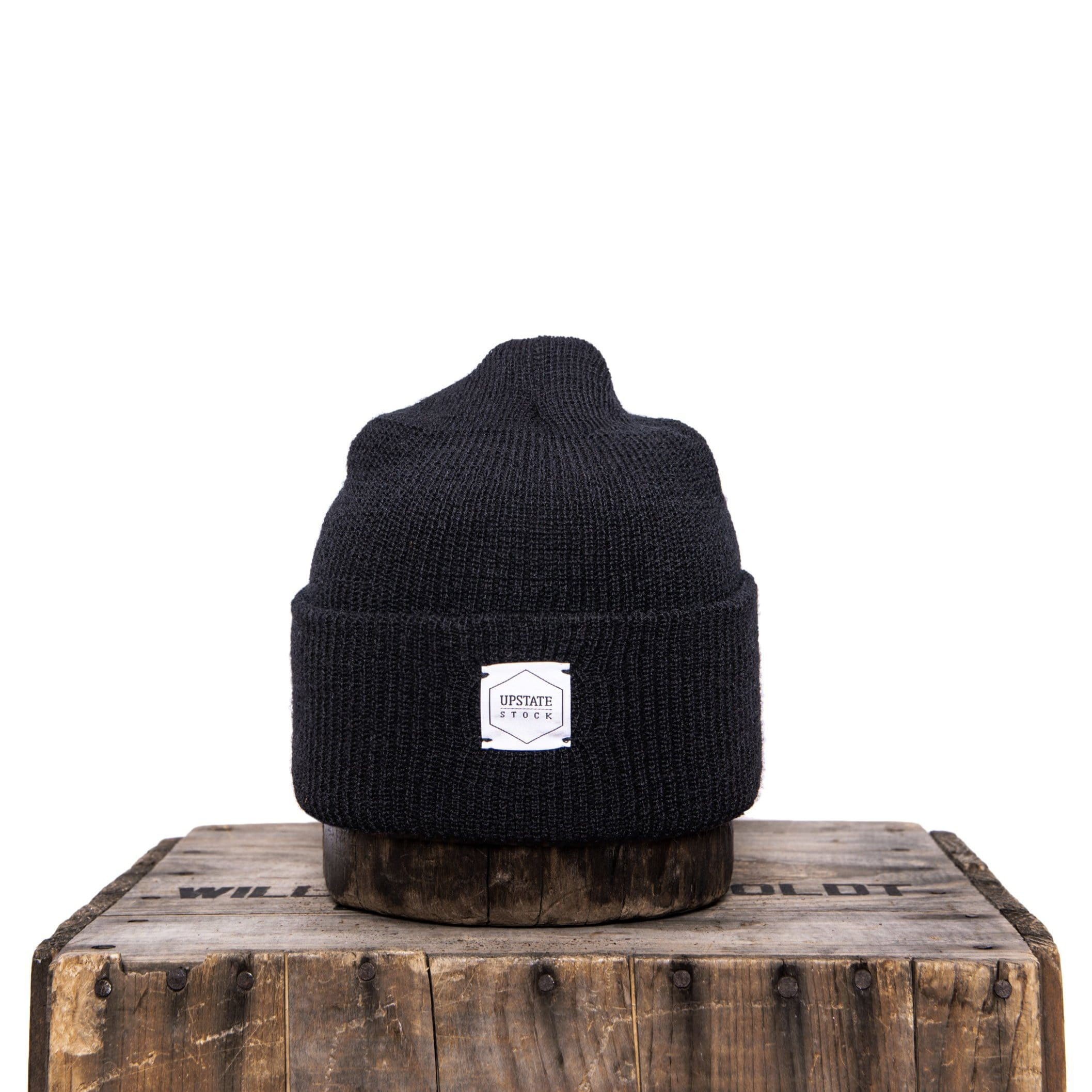 Upstate Stock - 100% Wool Watchcap - Black