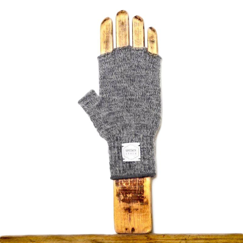 Upstate Stock - Rag Wool Fingerless Gloves - Charcoal Melange